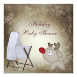 Baby Rudolph & Crib Neutral Holiday Baby Shower Personalized Invites