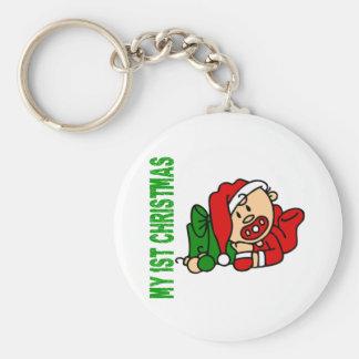 Baby's 1st Christmas BOY Basic Round Button Keychain