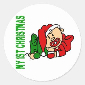 Baby's 1st Christmas BOY Classic Round Sticker
