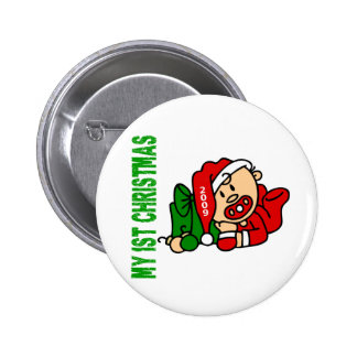 Baby's 1st Christmas Dated BOY 2 Inch Round Button