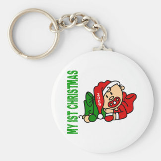 Baby's 1st Christmas Dated BOY Basic Round Button Keychain