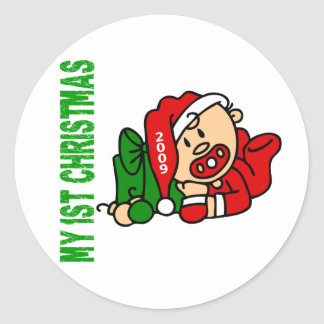 Baby's 1st Christmas Dated BOY Classic Round Sticker
