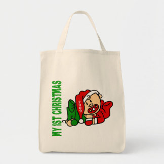 Baby's 1st Christmas Dated BOY Grocery Tote Bag