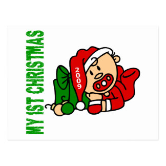 Baby's 1st Christmas Dated BOY Postcard