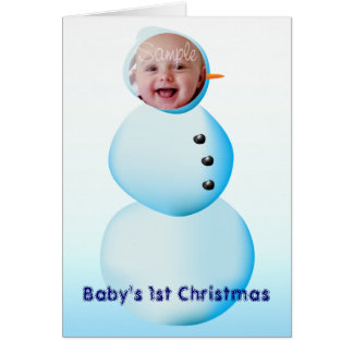 Baby s 1st Christmas Snowman Frame Greeting Card
