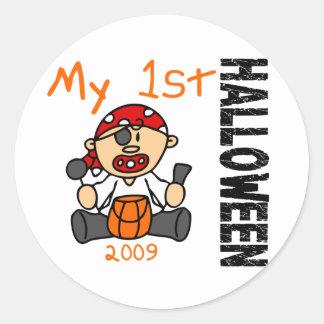 Baby's 1st Halloween 2009 Pirate BOY Round Stickers