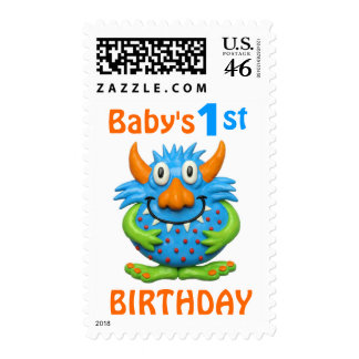 Baby s 1st Monster Birthday Party Postage