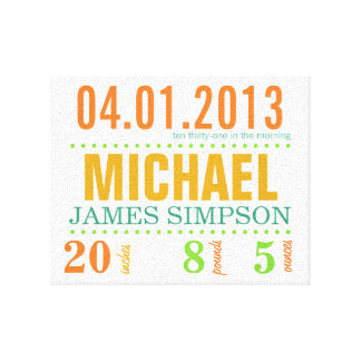 Baby s Birth Date Details Canvas - Circus Canvas Prints