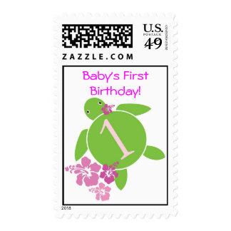 Baby s First Birthday Honu Hibiscus Stamp