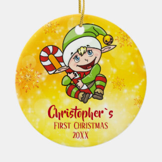 Baby`s First Christmas Elf Candy Cane Yellow Ceramic Ornament