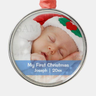 Baby s First Christmas Personalized Photo Template Christmas Tree Ornament