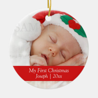 Baby s First Christmas Personalized Photo Template Christmas Ornament