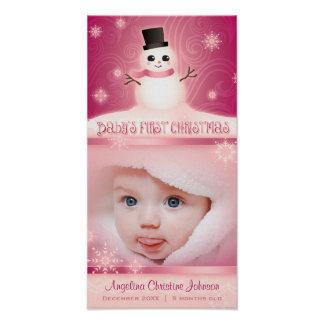 Baby s First Christmas Pink Commemorative Poster