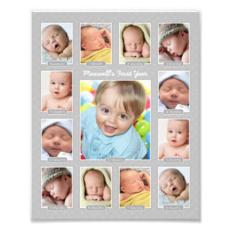 Baby s First Year Photo Keepsake Collage Print