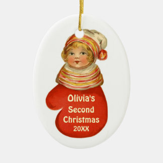 Baby s Second Christmas Custom Name Vintage W1383 Ornament