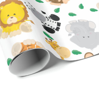 Baby Safari Animals Pattern Wrapping Paper