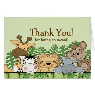 Baby Safari Animals Thank You Note Card