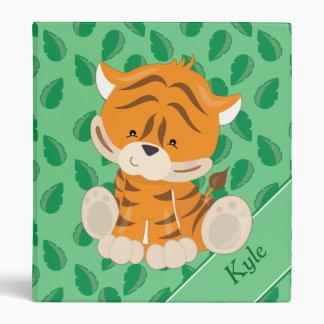 Baby Safari Animals   Tiger   Personalized 3 Ring Binder
