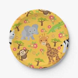 Baby Safari Yellow Paper Plate 7 Inch Paper Plate