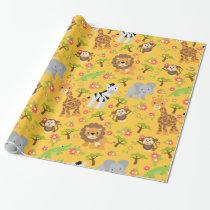 Baby Safari Yellow Wrapping Paper