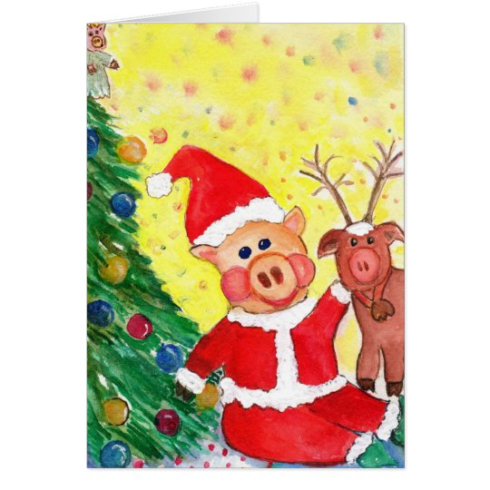 Baby Santa Piglet and Rein-pig by Christmas Tree Card