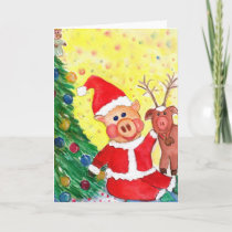 Baby Santa Piglet and Rein-pig by Christmas Tree Holiday Card