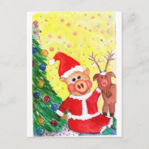 Baby Santa Piglet and Rein-pig by Christmas Tree Holiday Postcard