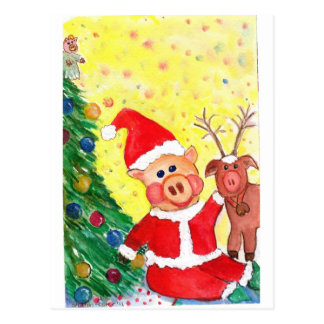 Baby Santa Piglet and Rein-pig by Christmas Tree Post Cards
