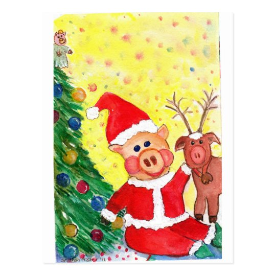 Baby Santa Piglet and Rein-pig by Christmas Tree Postcard