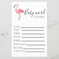 Baby scramble baby shower game flamingo