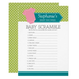 Baby Scramble Shower Game - Pink Girl Polka Dots Card