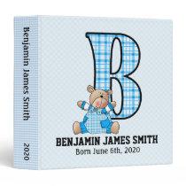 Baby Scrapbook in Blue Monogram B Binder