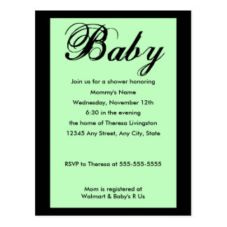 Baby Script Baby Shower Invitation Green Post Card