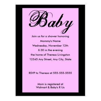 Baby Script Baby Shower Invitation Lilac Postcard