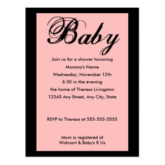 Baby Script Baby Shower Invitation Pink Post Card