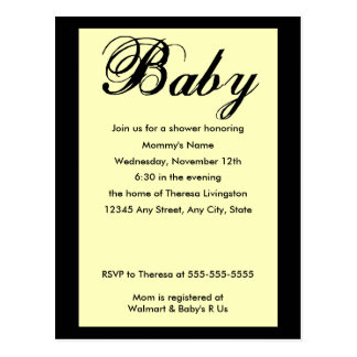 Baby Script Baby Shower Invitation Yellow Postcard