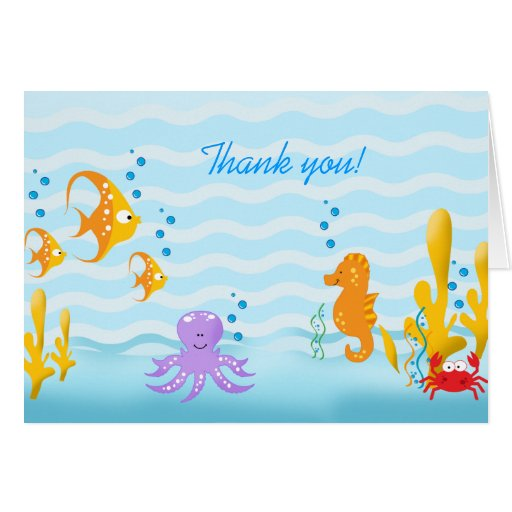 BABY SEA CRITTERS Thank you Note Card