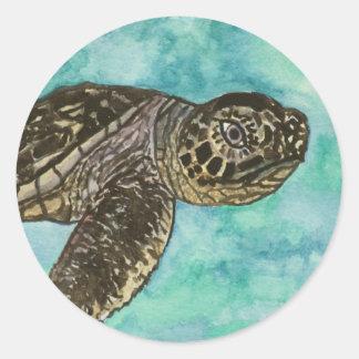 baby sea turtle sealife painting round sticker