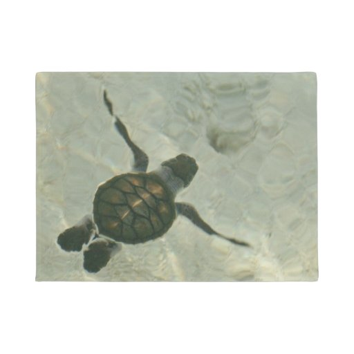Baby Sea Turtle Swimming Out To Sea Doormat Zazzle