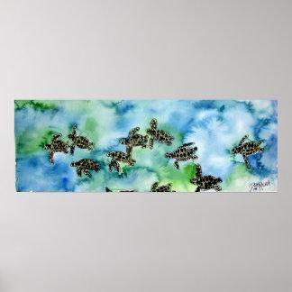 baby sea turtles reptile animal painting print
