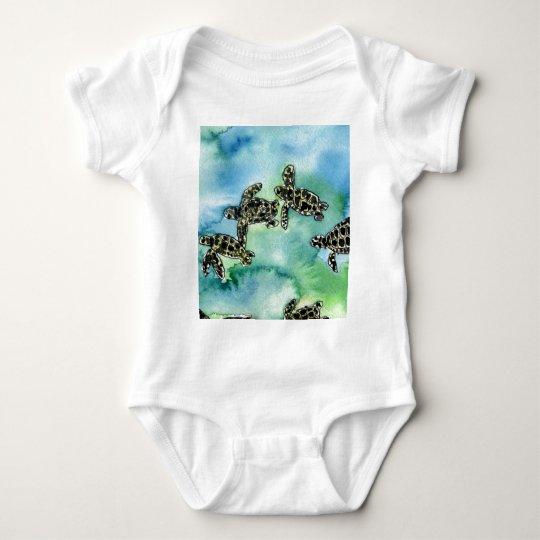 baby sea turtles reptile animal wildlife painting baby bodysuit