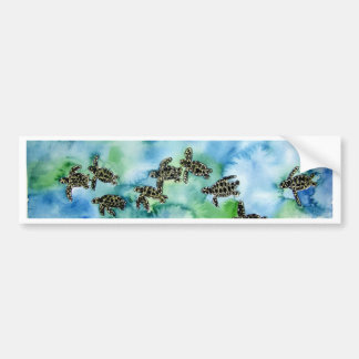 baby sea turtles reptile animal wildlife painting bumper sticker