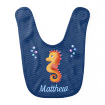Baby Seahorse With Baby's Name Baby Bib