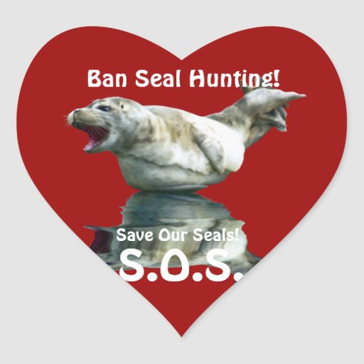 BABY SEAL Anti Seal-Hunt Wildlife Heart Sticker