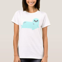 baby seal ocean animals tshirt aqua blue
