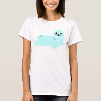 baby seal ocean animals tshirt aqua blue