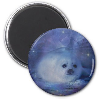 Baby Seal on Ice - Beautiful Seascape 2 Inch Round Magnet