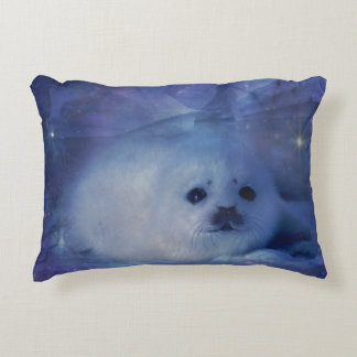 Baby Seal on Ice - Beautiful Seascape Accent Pillow