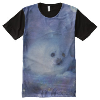 Baby Seal on Ice - Beautiful Seascape All-Over Print Shirt