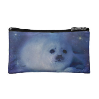 Baby Seal on Ice - Beautiful Seascape Cosmetic Bags